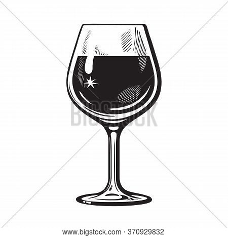 Glass Of Wine In Vintage Engraving Style. Wineglass Icon. Black And White Vector Illustration On Whi
