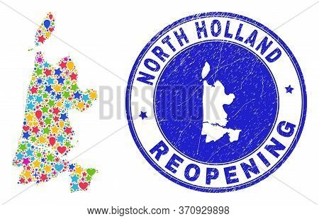 Celebrating North Holland Map Collage And Reopening Rubber Stamp Seal. Vector Collage North Holland
