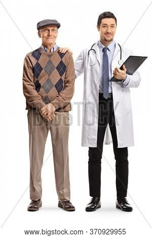 Full length portrait of a young male doctor standing next to an elderly patient isolated on white background