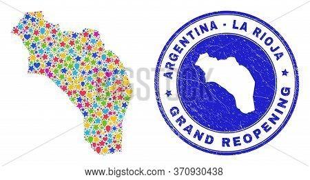 Celebrating La Rioja Of Argentina Map Mosaic And Reopening Unclean Seal. Vector Mosaic La Rioja Of A