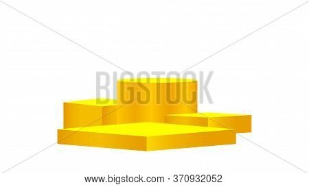 Luxury Pedestal Gold 3d Isolated On White, Golden Pedestal Circle Box For Cosmetics Product Display