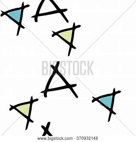 Tumbling Triangles With White Background Hand Drawn Vector Seamless Repeat Pattern With Doodles. Sur