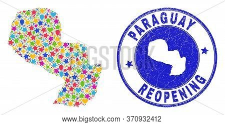 Celebrating Paraguay Map Collage And Reopening Rubber Stamp Seal. Vector Collage Paraguay Map Is Org