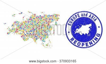 Celebrating Europe And Asia Map Collage And Reopening Rubber Seal. Vector Collage Europe And Asia Ma