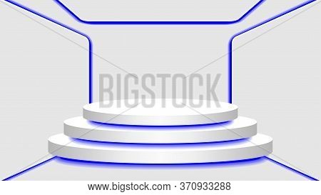 Pedestal 3d And Blue Light Neon Lamp Glowing In Empty Interior Room, Cosmetics Display Modern And Le