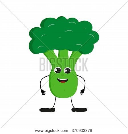 Cute Happy Green Broccoli Characters. Vector Flat Illustration Isolated On White Background. Cartoon