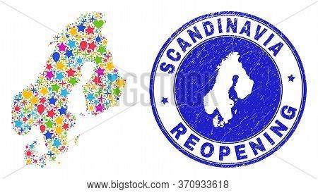 Celebrating Scandinavia Map Mosaic And Reopening Grunge Stamp Seal. Vector Mosaic Scandinavia Map Is