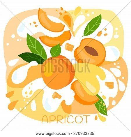 Vector Illustration Of An Organic Apricot Milkshake Or Fruit Drink. Ripe Apricot Fruits With Splash
