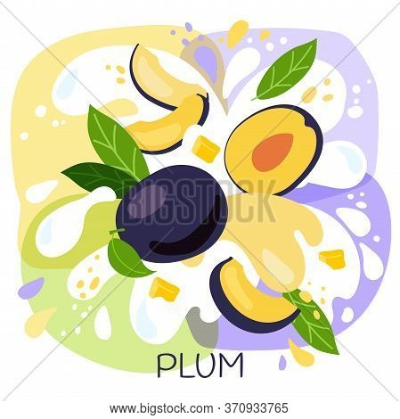 Vector Illustration Of An Organic Plum Milkshake Or Fruit Drink. Ripe Plum Fruits With Splash Of Mil