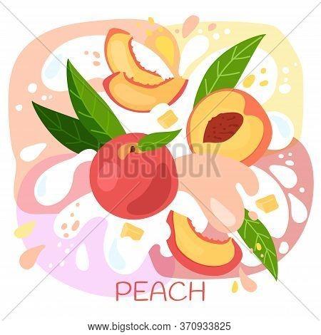 Vector Illustration Of An Organic Peach Milkshake Or Fruit Drink. Ripe Peach Fruits With Splash Of M