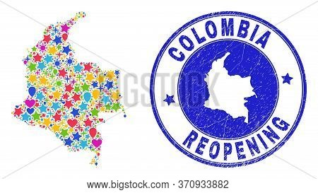 Celebrating Colombia Map Mosaic And Reopening Rubber Seal. Vector Mosaic Colombia Map Is Created Wit