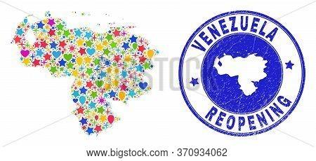 Celebrating Venezuela Map Mosaic And Reopening Corroded Seal. Vector Mosaic Venezuela Map Is Constru