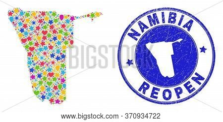 Celebrating Namibia Map Mosaic And Reopening Dirty Stamp Seal. Vector Mosaic Namibia Map Is Composed