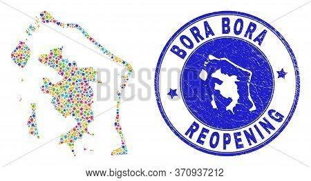 Celebrating Bora-bora Map Mosaic And Reopening Dirty Seal. Vector Mosaic Bora-bora Map Is Organized