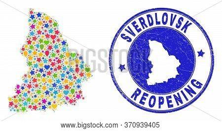 Celebrating Sverdlovsk Region Map Collage And Reopening Scratched Watermark. Vector Collage Sverdlov