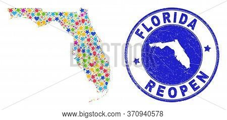 Celebrating Florida State Map Mosaic And Reopening Rubber Watermark. Vector Mosaic Florida State Map