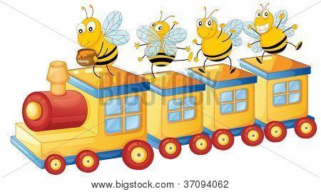 illustration of honey bess on train and honey pot