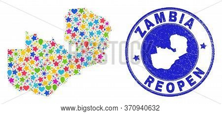 Celebrating Zambia Map Mosaic And Reopening Scratched Seal. Vector Mosaic Zambia Map Is Designed Wit