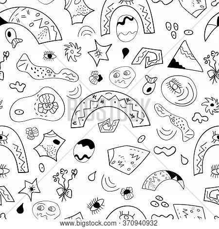 Abstract And Surreal Seamless Pattern. Black And White Background With Abstract Shapes, Rainbows, Ey