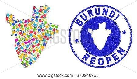 Celebrating Burundi Map Mosaic And Reopening Rubber Seal. Vector Mosaic Burundi Map Is Formed Of Ran