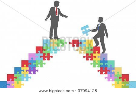 Two people find connection to team up on puzzle in a merger make a deal or collaborate