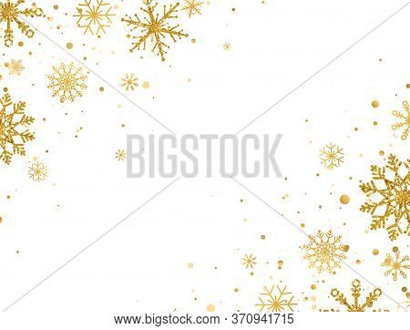 Golden Snowflakes Border With Different Ornaments. Gold Falling Snowflakes On White Background. Luxu