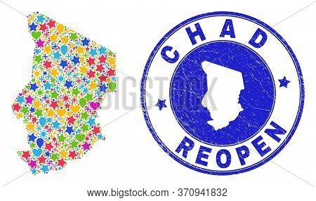 Celebrating Chad Map Mosaic And Reopening Scratched Seal. Vector Mosaic Chad Map Is Created Of Rando