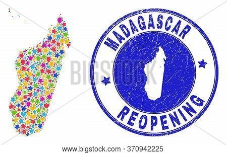 Celebrating Madagascar Island Map Collage And Reopening Dirty Stamp. Vector Collage Madagascar Islan