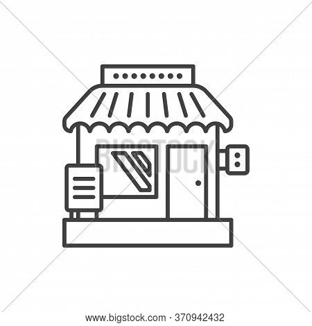 Small Business Icon. Creative Image Of A Small Shop. Linear Vector Isolated On White Background.