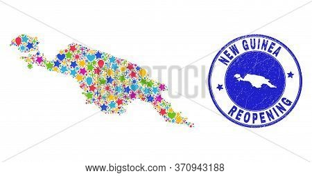Celebrating New Guinea Map Collage And Reopening Rubber Stamp. Vector Mosaic New Guinea Map Is Creat