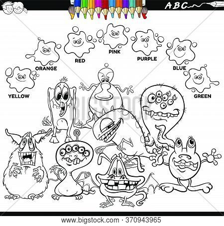 Black And White Educational Cartoon Illustration Of Basic Colors With Fantasy Monsters Characters Gr