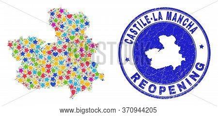 Celebrating Castile-la Mancha Province Map Mosaic And Reopening Grunge Watermark. Vector Mosaic Cast