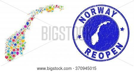 Celebrating Norway Map Mosaic And Reopening Textured Watermark. Vector Mosaic Norway Map Is Composed