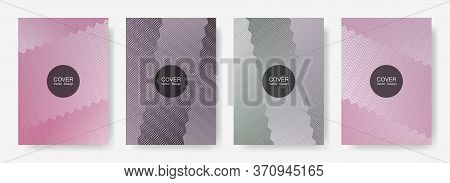 Zig Zag Lines Halftone Banner Templates Set, Gradient Stripes Texture Vector Backgrounds For   Magaz