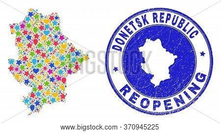 Celebrating Donetsk Republic Map Mosaic And Reopening Rubber Watermark. Vector Mosaic Donetsk Republ