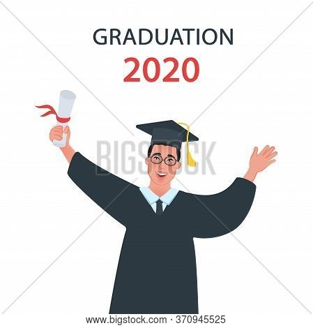 Graduate Student In A Master Cap. The End Of College. The Characters Of The Students. Vector Illustr