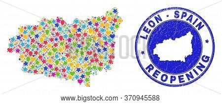 Celebrating Leon Province Map Mosaic And Reopening Rubber Stamp. Vector Mosaic Leon Province Map Is