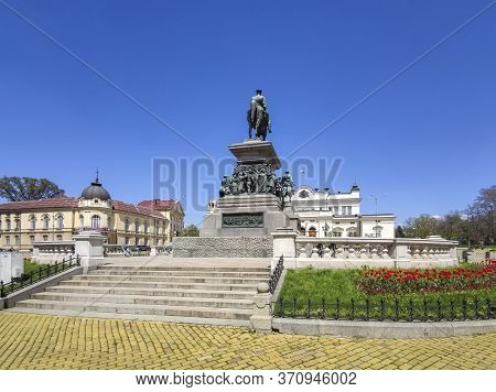 Sofia, Bulgaria - April 24, 2020:   The Monument Of Tsar Liberator Alexander Ii Of Russia In City Of