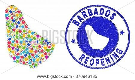 Celebrating Barbados Map Mosaic And Reopening Unclean Seal. Vector Mosaic Barbados Map Is Formed Of