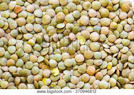 Heap Of Green Lentil Texture As Background. Uncooked Lentils. Top View