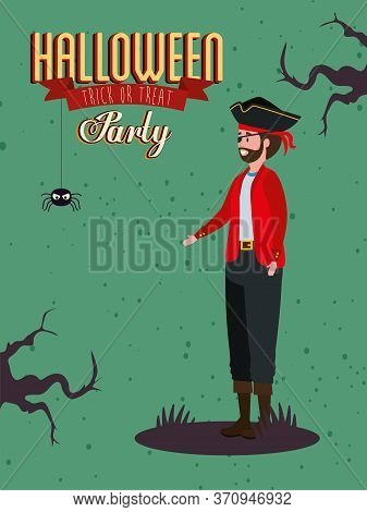 Poster Of Party With Man Disguised Vampire Vector Illustration Design