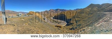 Morocco - 15 October, 2019: Panoramic View With Winding Road Or Hairpin Turn, Hairpin Bend Or Serpen