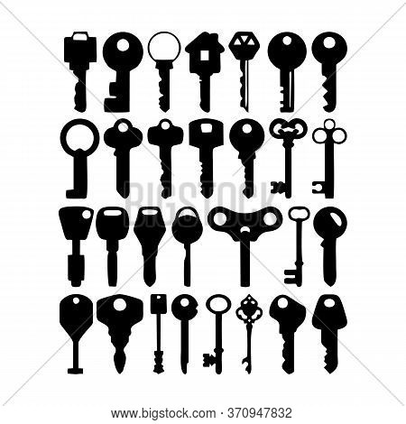 Key And Keyhole Silhouettes. Old House Door Keys, Vintage Lock Keyholes Frames And Retro Key Silhoue