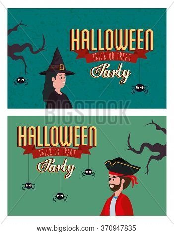Set Poster Of Party Halloween With Disguised Vector Illustration Design
