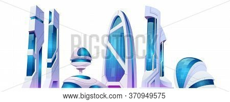 Future City, Futuristic Buildings With Glass Facade And Unusual Shapes Isolated On White Background.