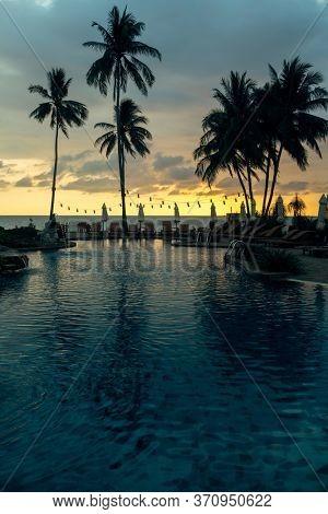 Tropical palm trees silhouetted against a dusk blue sky on the beach.
