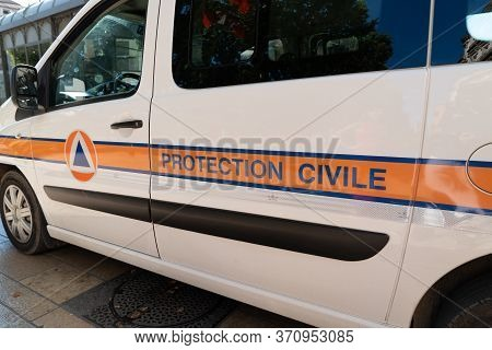 Bordeaux , Aquitaine / France - 11 13 2019 : Protection Civile Van French Securite Civil Car