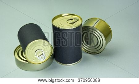 Tin Cans With Blank Label For Text, Storage And Stock Of Products, Humanitarian Aid And Food Ration,
