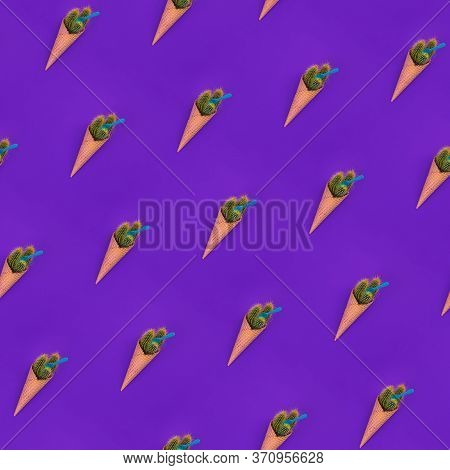 Seamless Diagonal Pattern With Fake Ice Cream. Trendy Waffle Cone With Green Cacus With Sharp Yellow