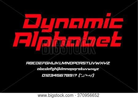 Red Sport Dynamic Font With Numbers And Punctuation, Uppercase And Lowercase Letters. Italic Geometr